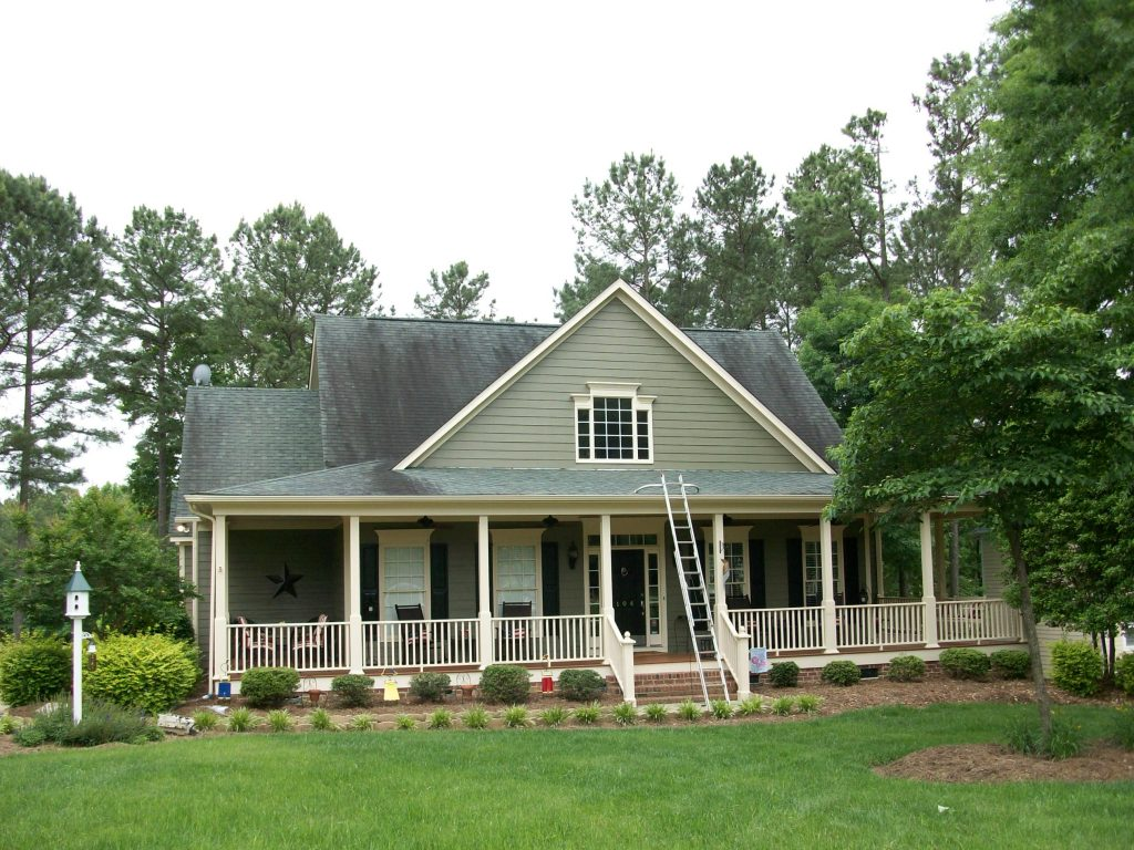 Roof stain removal Raleigh before (