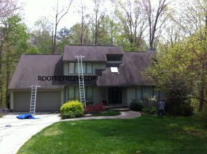 This roof has no gutters and covering the landscape is one of several methods we employ to  ensure there is no damage to the plants and bushes.