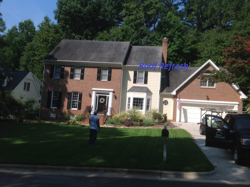 Roof cleaning using no pressure Wake Forest NC